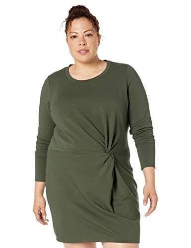 Women\'s Plus Size Cotton Modal Fleece Twist Long Sleeve Sweatshirt Dress
