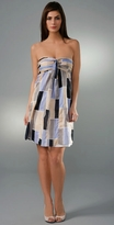 ADAM Colorblock Pleated Strapless Dress