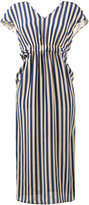 Fendi V-neck stripe dress - women - Silk - 42