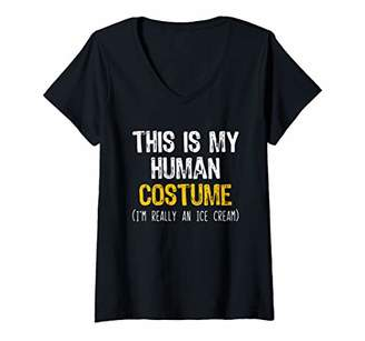 Womens This Is My Human Costume Ice Cream Halloween Lazy Easy V-Neck T-Shirt