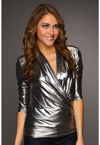 Catherine Malandrino Metallic Jersey Long Sleeve Wrap Blouse (Cosmic) - Apparel