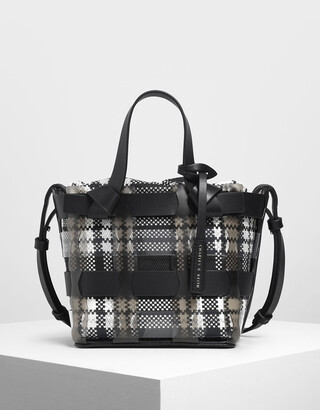 Charles & Keith See-Through Woven Bucket Bag