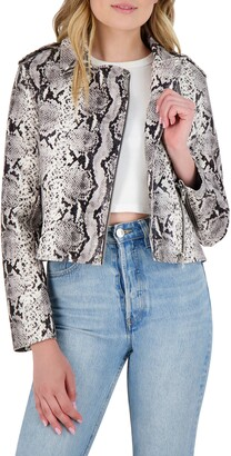 BB Dakota Watch Out Snakeskin Print Faux Leather Moto Jacket