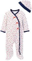 Little Me Cherry Dot Footie & Hat Set (Baby Girls)