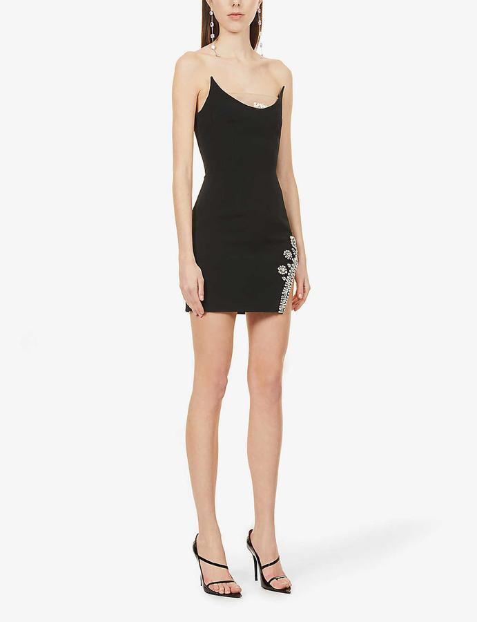 David Koma Strapless crystal-embellished stretch-crepe mini dress