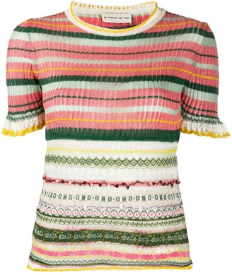 Etro Knitted Metallic Short Sleeve Top