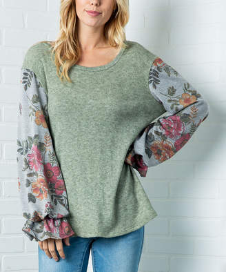 Acting Pro Women's Tunics sage - Sage Floral Ruffle-Sleeve Tunic - Women
