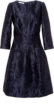 Oscar de la Renta Navy Floral Embroidered Dress