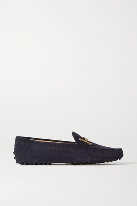 Tod's Gommino Doppia Embellished Suede Loafers - Navy