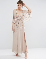 Asos Pretty Embellished Deep Plunge Kimono Maxi Dress