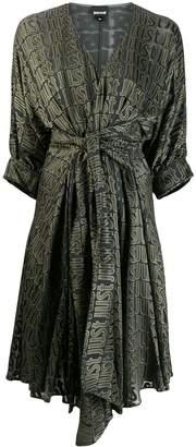 Just Cavalli logo print wrap midi dress