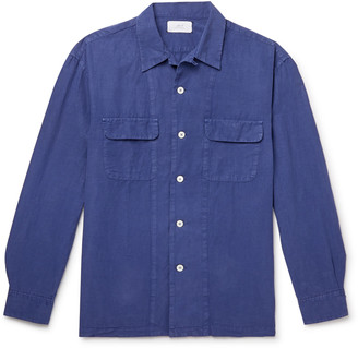 Mr P. Convertible-Collar Garment-Dyed Lyocell, Linen and Cotton-Blend Shirt - Men - Blue