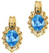 Gem Stone King 3.02 Ct Oval Swiss Blue Topaz and Blue Diamond 18k Yellow Gold Earrings