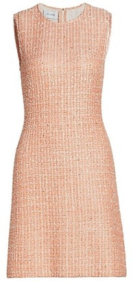 St. John Eyelash Lurex Tweed Knit A-Line Dress