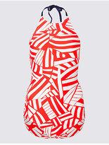 M&S Collection Secret SlimmingTM High Neck Printed Swimsuit