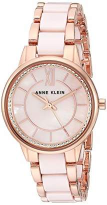 Anne Klein Women's AK/3344LPRG Swarovski Crystal Accented Rose Gold-Tone and Light Pink Ceramic Bracelet Watch