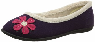 Padders Happy Wide Fitting Womens Memory Foam Ballerina Slippers - Purple - UK4