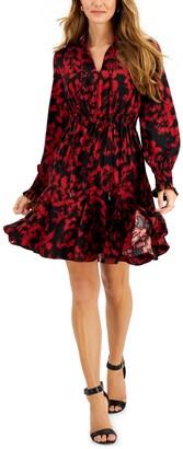 Taylor Petite Floral-Print Tie-Neck A-Line Dress