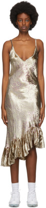 Collina Strada Gold Velvet Michi Mid-Length Dress