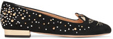 Charlotte Olympia Kitty Embellished Embroidered Suede Slippers - Black