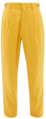Umit Benan B+ - High-rise Linen-blend Pleated Trousers - Yellow