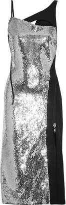 Thierry Mugler Asymmetric Cutout Sequin-embellished Crepe Dress