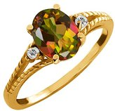 Gem Stone King 2.35 Ct Oval Mango Mystic Topaz and White Topaz 14k Yellow Gold Ring