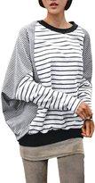 Allegra K Women Striped Long Batwing Sleeves Loose Blouse XL
