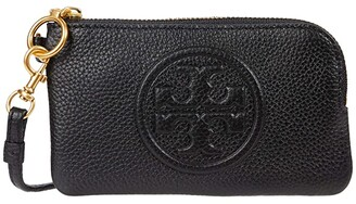 Tory Burch Perry Bombe Top Zip Card Case (Black) Handbags