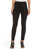 Intro Petite Faux Leather Piping Double Knit Pull-On Legging