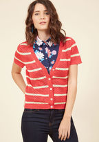 Mcs1067a This coral cardigan from our ModCloth namesake label bestows upon your favorite looks an instantly adorable appeal! Delicate scallops around the neckline, short sleeves, placket, and hem frame the darling picot stitching and cream stripes of this button-f