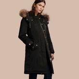 Burberry Down-filled Parka Coat with Detachable Fur Trim
