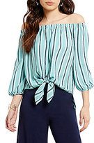 Soprano Stripe Off-The-Shoulder Tie-Front Top