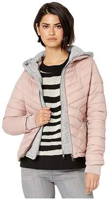 YMI Jeanswear Snobbish Puffer Jacket with Marled Sweatshirt Hood (Mauve) Women's Clothing