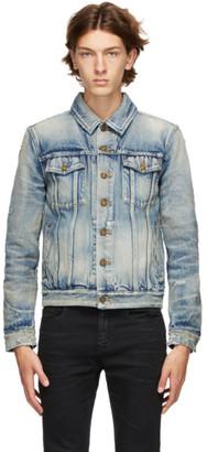 Saint Laurent Blue Denim 70s Trashed Jacket