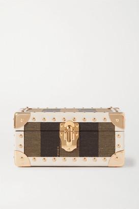 Fendi Studded Leather-trimmed Striped Jacquard Jewelry Box - Neutral