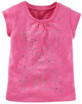 "Osh Kosh Toddler Girl Best Day Ever"" Sparkle Tee"