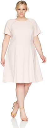 Jessica Howard JessicaHoward Plus Size Womens Short Sleeve Dress with Pearl Trim