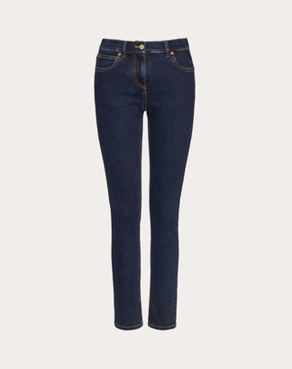 Valentino Vgold Denim Jeans Women Dark Denim Elastomultiester 6%, Elastane 2% 25