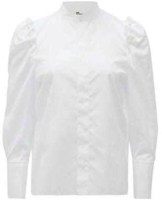 Noir Kei Ninomiya Pearl-embellished Puff-sleeved Cotton Blouse - Womens - White