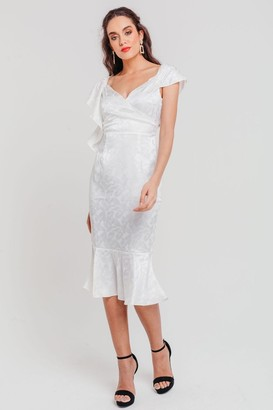 Pretty Darling White Jacquard Satin Bodycon Midi Dress