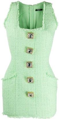 Balmain Mini Sleeveless Tweed Dress