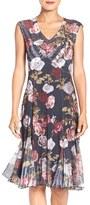 Komarov Petite Women's Floral Print Chiffon A-Line Dress