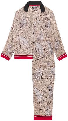 DKNY Leopard-print Crepe De Chine Pajama Set