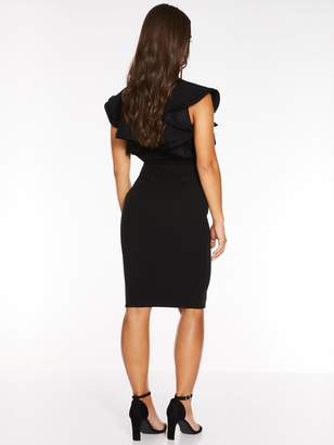 Quiz Scuba Crepe Double Frill Sleeve SquareNeck Midi Dress - Black