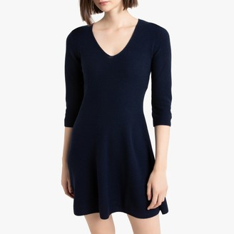 Benetton Wool Mix Short Skater Dress with 3/4 Length Sleeves