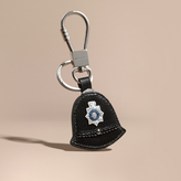 Burberry Policeman Hat Key Ring In Leather, Black