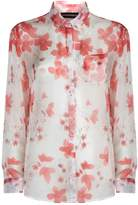 Armani Collezioni Floral Print Blouse, White, UK 6