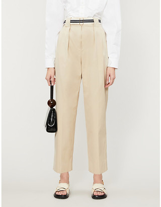 Sandro Nylo wide-leg high-rise cotton-twill trousers
