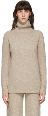 Joseph Beige Tweed Knit Turtleneck